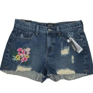 NEW Buffalo Floral Embroidered Raw Hem Jean Shorts